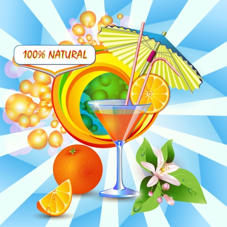 Abstract background with fresh orange juice, flowers and umbrella  Vector