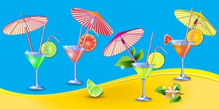 Exotic background with fresh glasses of juice  Vector