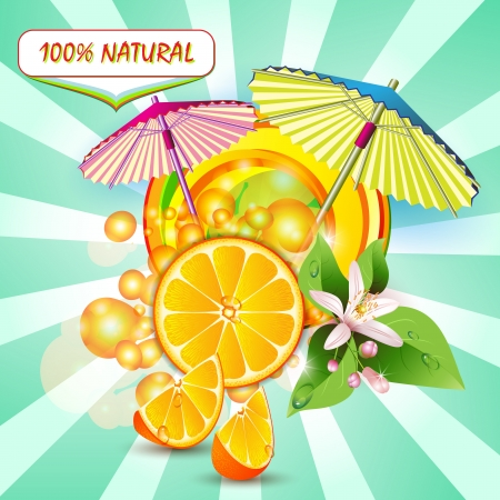 exotic fruit: Slices orange with flowers, leaves and umbrellas