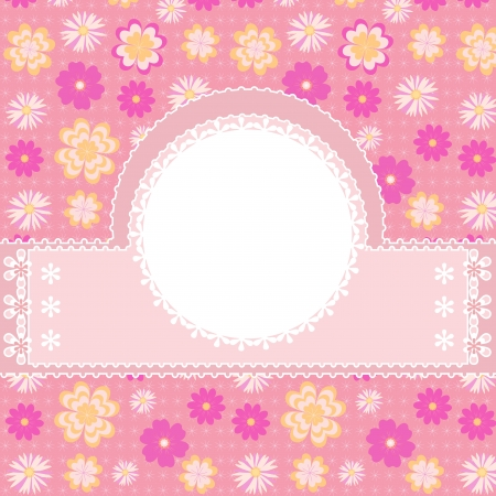 Illustration card with flowers on pink background  Vector
