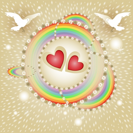 Background with hearts, flowers and rainbow for special day  Vector