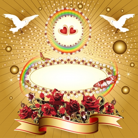 Background with hearts and banner with flowers, ribbon, pigeon, for special day  Illustration