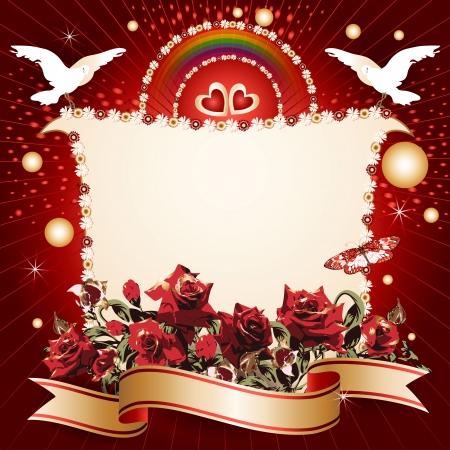 Contexte avec des coeurs et la banni�re avec des fleurs, des rubans, des pigeonniers, pour le jour sp�cial