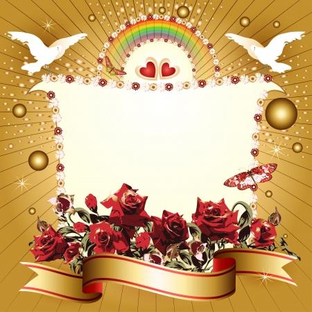 gouden ster: Achtergrond met hartjes en banner met bloemen, lint, duif, voor de speciale dag Stock Illustratie