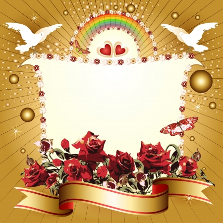 Background with hearts and banner with flowers, ribbon, pigeon, for special day  Vettoriali