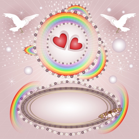 Background with hearts and banner with flowers, rainbow, pigeon for special day  Vector