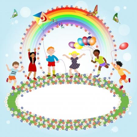 girotondo bambini: Multirazziali bambini giocano e uno striscione per il messaggio