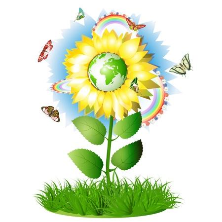 paz mundo: Verano de girasol tiempo con globo, mariposas y arco iris Vectores