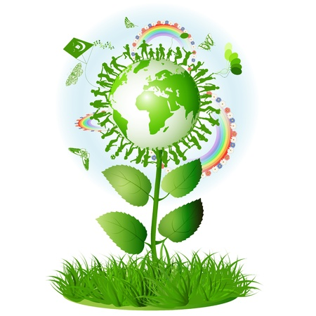 madre tierra: S�mbolo ecol�gico con la madre de la Tierra Vectores