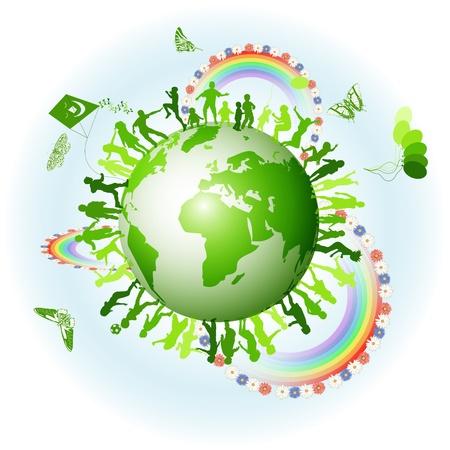 ni�os reciclando: Entorno ecol�gico con los ni�os y el globo Vectores