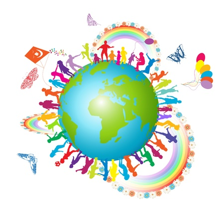 Background with colorful silhouettes of kids and globe  Vettoriali