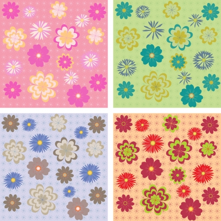 Flower seamless pattern in four color palettes  Vector