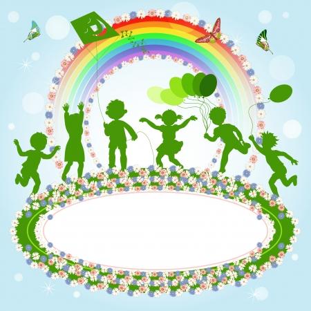 ni�os dibujando: Ni�os jugando; grupo de ni�os felices y una bandera para el mensaje Vectores