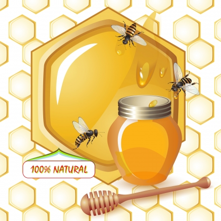 Closed honey jar, wooden dipper bees over background with honeycombs and drops  Vector