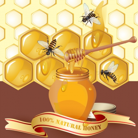 curative: Jar of honey with wooden dipper, bees and ribbon over background with honeycombs and drops