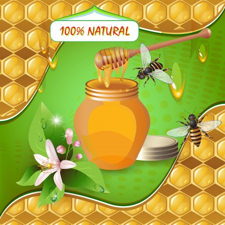 sweetener: Jar of honey with wooden dipper, bees, flower over background with honeycombs and drops  Illustration