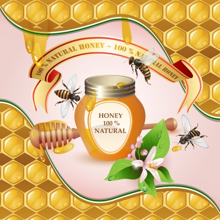closed ribbon: Closed honey jar, wooden dipper, bees, ribbon and flower over background with honeycombs and drops