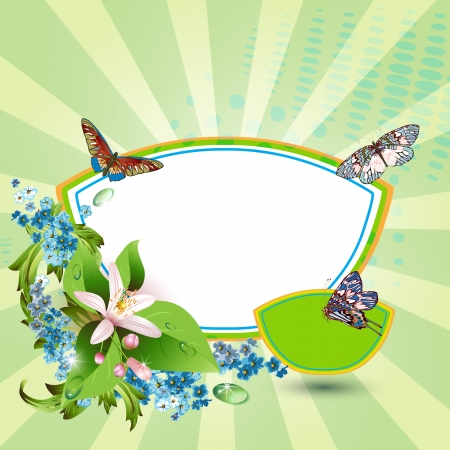 Background with flowers and butterflies  Stock Vector - 14180787