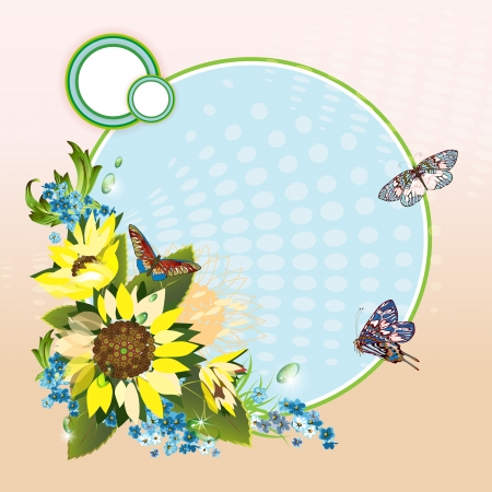 cornflowers: Background with sunflowers, cornflowers and butterflies