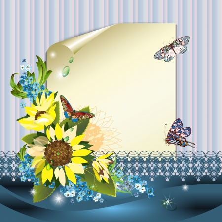 Sheet of paper, sunflowers and butterflies  Stock Vector - 14098841