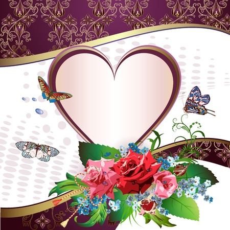 Illustration card with heart, butterflies and flowers