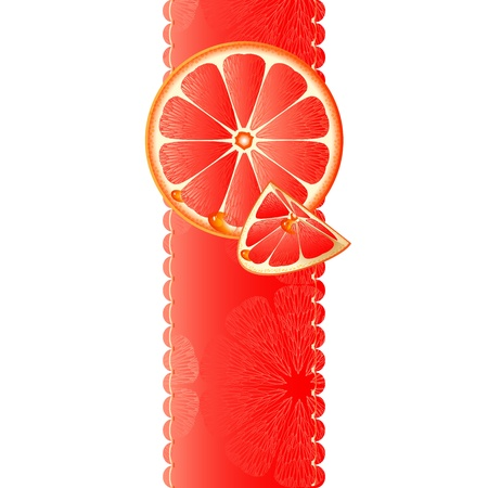 Vertical banner with juicy slices of grapefruit  Vector