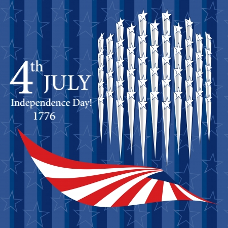 Happy Independence Day with star and flag Can be use as card, poster and flayer