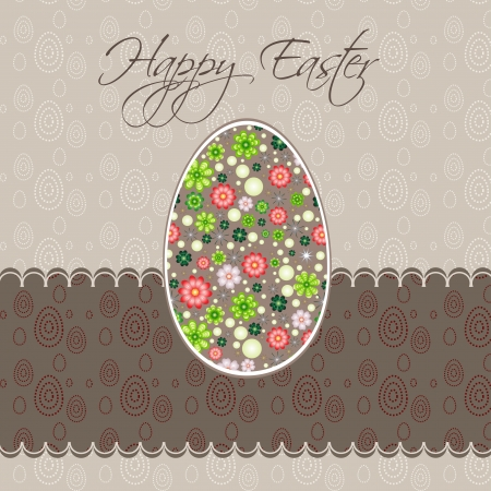 Easter card with egg decorated with flowers Stock Vector - 14234827
