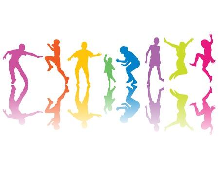 boy jumping: Siluetas de colores con sombras de color