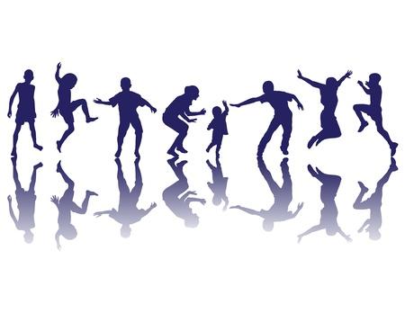 Des enfants heureux silhouettes jouant Vecteurs