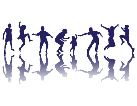 Happy children silhouettes playing Vector