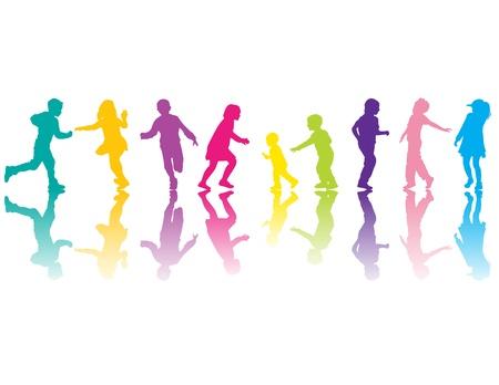 springende mensen: Kleurrijke silhouetten met kleur schaduwen