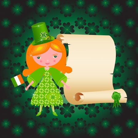 St  Patrick s Day card with cute girl and papyrus Stock Vector - 14234800