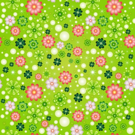 Seamless pattern with clover and flowers Stock Vector - 14234797