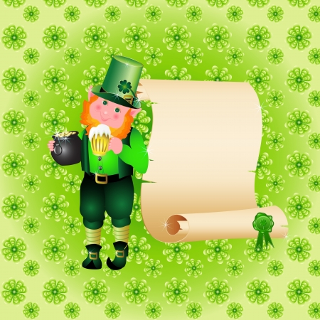 St  Patrick s Day leprechaun card with papyrus Stock Vector - 14234805