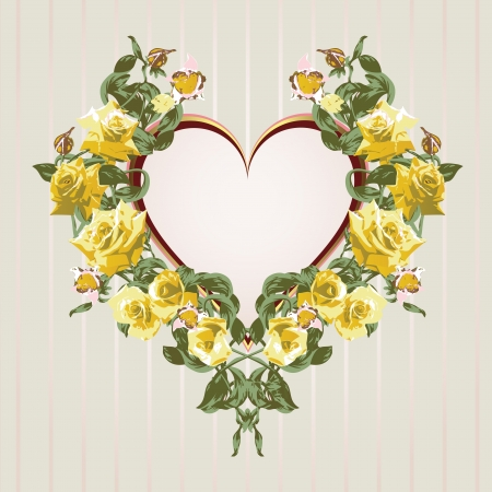 Framework from yellow roses in the shape of heart  Illustration