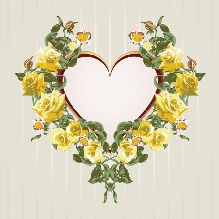 gele rozen: Kader van gele rozen in de vorm van hart Stock Illustratie