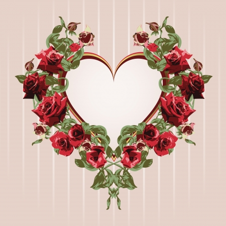 Framework from red roses in the shape of heart  Illustration