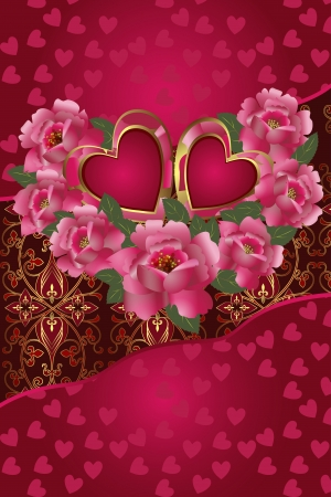 Congratulation card with red hearts and roses  Illustration Saint Valentine s Day   Vector