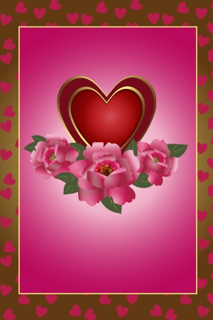 saint valentine   s day: Congratulation card with red heart and roses  Illustration Saint Valentine s Day