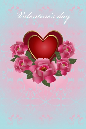 Congratulation card with glossy red heart and roses  Illustration Saint Valentine s Day   Vector
