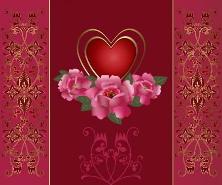 Congratulation card with red heart and roses  Illustration Saint Valentine s Day   Vector