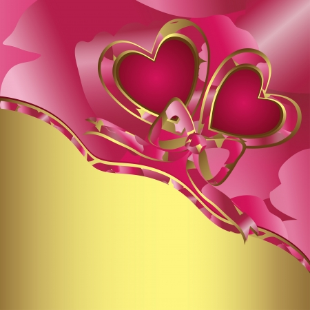 Valentine s day card, illustration with hearts of love  Vector
