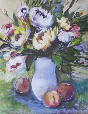 Flowers painted in acrylics  Fresh flowers in a vase and three peaches on the table photo