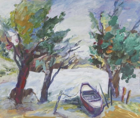 Landscape with boat and trees painted in acrylics Stock Photo - 14234900