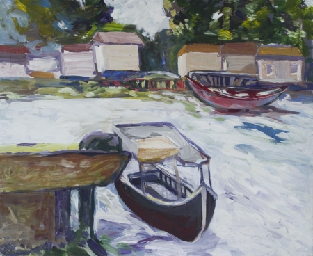 Landscape with boats and houses painted in acrylics Stock Photo - 14234904