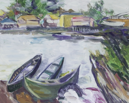 Landscape with boats and houses painted in acrylics Stock Photo - 14234942