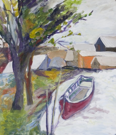 danube delta: Landscape with boat, houses and trees painted in acrylics