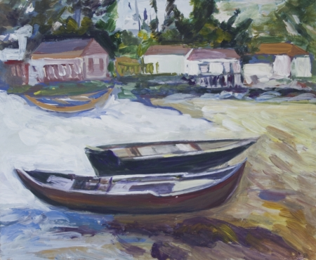 Landscape with boats and houses painted in acrylics Stock Photo - 14234903
