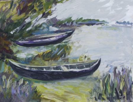 danube delta: Landscape with boats painted in acrylics